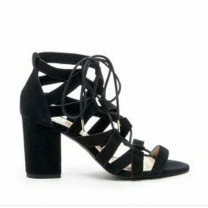 SOLE SOCIETY - Black Strappy Heeled Sandals